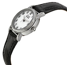 Citizen Women's EW1270-06A Eco-Drive Stainless Steel and Black Leather Watch