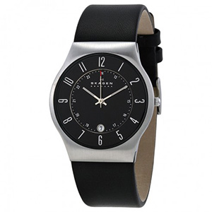 Skagen Watch Reviews of Skagen Black Leather and Steel Watch