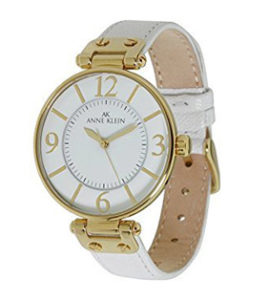 White Watches for Women of Anne Klein Women's 109168WTWT Gold-Tone and White Leather Strap Watch
