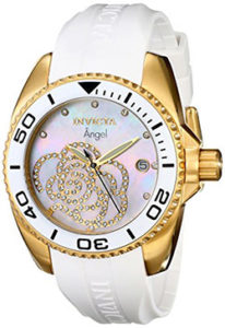 White Watches for Women of Invicta Women's 0488 Angel Gold-Tone Watch with White Polyurethane Band