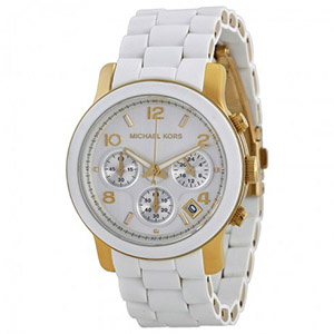 White Watches for Women of Michael Kors MK5145 Women's Two Tone Stainless Steel Quartz Chronograph White Dial Watch