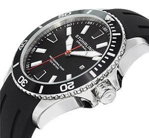 Stuhrling Original Aquadiver Regatta Mens Black Watch - Quartz Analog Swim Sports Watch - Black Dial Date Display Waterproof Watch