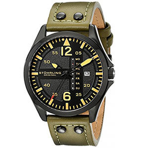 Stuhrling Watches Review of Stuhrling Original Men's 699.03 Aviator Quartz Day and Date Watch With Green Leather Band