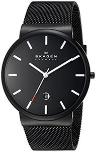 Best Mens Watches Under 200 of Skagen Men's SKW6053 Ancher Analog Quartz Black Stainless Steel Watch