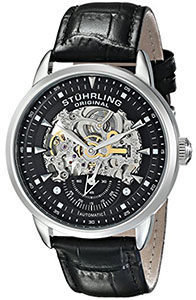 Best Mens Watches Under 200 of Stuhrling Original Men's 133.33151 Executive Automatic Skeleton Black Genuine Leather Strap Watch