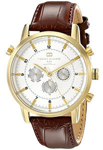 Best Mens Watches Under 200 of Tommy Hilfiger Men's 1790874 Gold-Tone Watch with Brown Leather Band