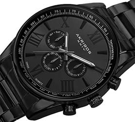 Akribos Watches Review of Akribos XXIV Men's AK736BK Round Three-Hand Quartz Bracelet Watch