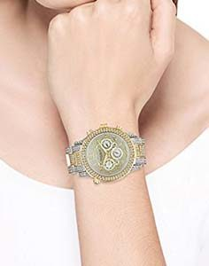 Akribos Watches Review of Akribos XXIV Women's AK776TTG Multifunction Swiss Quartz Movement Crystal Encrusted Watch with Yellow Gold Dial and Two Tone Bracelet