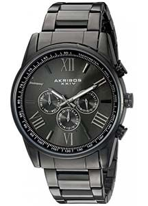 Akribos XXIV Men's AK736BK Round Three-Hand Quartz Bracelet Watch
