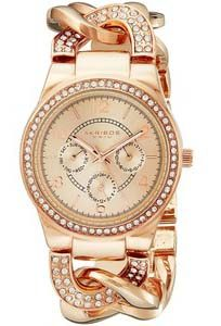 Akribos XXIV Women's AK558RG Quartz Multi-Function Crystal-Accented Twist-Chain Watch in Rose-Gold Tone